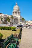 Street scene in downtown Havana with a view of the Capitol building Royalty Free Stock Photography