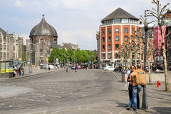 Street scene in downtown, Liege Royalty Free Stock Photography