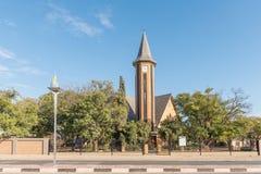 Street scene with the Dutch Reformed Church in Otjiwarongo Royalty Free Stock Photo