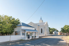 Street scene with the Dutch Reformed Church in Philippolis Royalty Free Stock Photo