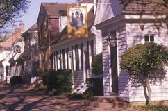 Street scene of early colonial life in Williamsburg, Virginia Royalty Free Stock Photo