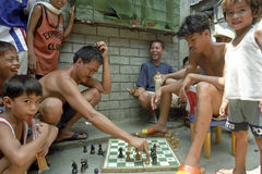 Street scene with Filipino chess players, Philippines Stock Photography