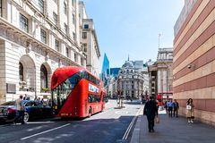 Street scene in the financial district of the City of London. London, UK - May 14, 2019: Street scene in the financial district near the Bank of England a sunny stock image