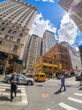 Street scene at the Financial District in New York City Stock Image