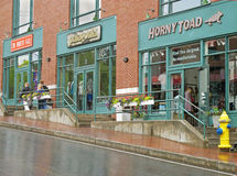 Street scene Freeport Maine outlets. Rainy day street scene Freeport Maine stock photography
