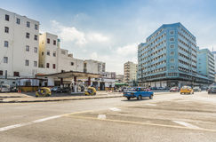 Street scene with gas station Havana Royalty Free Stock Photos