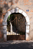 Street scene - gate. Shot in Imotski, Crotia Royalty Free Stock Photos