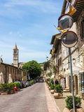 Street scene in hill town Assisi, Italy Stock Photography