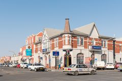 Street scene with historic buildings and vehicles in Swakopmund Stock Images