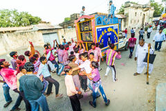 Street scene during the Holi festival of colours in Mandawa Stock Photography