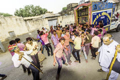 Street scene during the Holi festival of colours in Mandawa Stock Photo