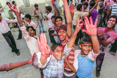 Street scene during the Holi festival of colours in Mandawa Royalty Free Stock Images