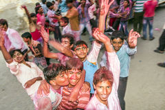 Street scene during the Holi festival of colours in Mandawa Royalty Free Stock Image