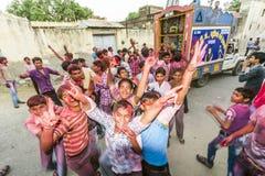 Street scene during the Holi Stock Photos