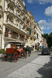 Street Scene Karlovy Vary,Czech famous spa place Royalty Free Stock Photos