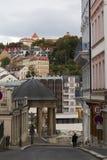 Street Scene Karlovy Vary,Czech famous spa place Royalty Free Stock Photo