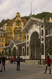 Street Scene Karlovy Vary,Czech famous spa place Royalty Free Stock Images
