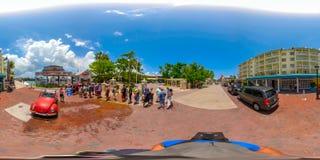 Street scene Key West Florida USA 360 vr image. KEY WEST, FL, USA - JUNE 20, 2018: VR image of Key West Florida spherical equirectangular Royalty Free Stock Image