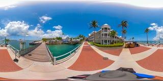 Street scene Key West Florida USA 360 vr image. KEY WEST, FL, USA - JUNE 20, 2018: VR image of Key West Florida spherical equirectangular Stock Image