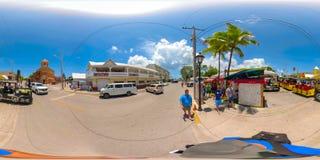 Street scene Key West Florida USA 360 vr image. KEY WEST, FL, USA - JUNE 20, 2018: VR image of Key West Florida spherical equirectangular Stock Photos