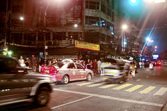 Street Scene in the Khao San Road in Bangkok at night Royalty Free Stock Photography
