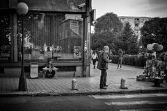Street scene from Kumanovo, Macedonia. Kumanovo, Macedonia - September 22, 2016: People and street scene from Kumanovo, Macedonia Royalty Free Stock Photos