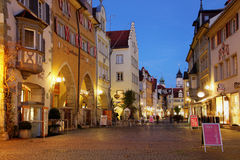 Street scene in Lindau, Germany. View of the main pedestrian street (Maximilianstrasse) in the romantic city of Lindau on Lake Bodensee (Constance) in Germany at Royalty Free Stock Photo