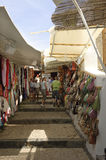 Street scene in Lindos village, Greece Stock Images