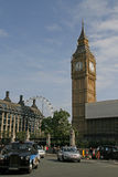 Street Scene in London with Londons Cab and Big Ben .Great Brita Stock Photography