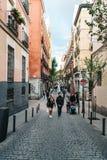 Street scene in Malasana district in Madrid Royalty Free Stock Photo