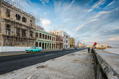 Street scene from Malecon in Havana seafront,Cuba. Royalty Free Stock Photo