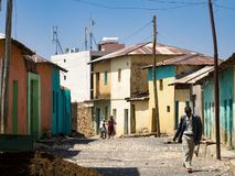 Street scene and man in Axum stock image