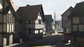 Street scene in a Mediaeval Town. Street Scene set in a European town during the Middle Ages or Medieval period with half-timbered houses and market hall, 3d Royalty Free Stock Photo