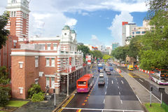 Street scene near the fire station of Singapore. SINGAPORE - OCT 4: Street scene near the fire station of Singapore on October 4, 2015. The Central Fire Station Royalty Free Stock Images