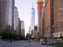 Street scene with the new World Trade Center in New York at suns stock photo