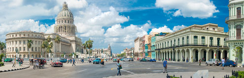 Street scene next to the Capitol in Old Havana Royalty Free Stock Photography