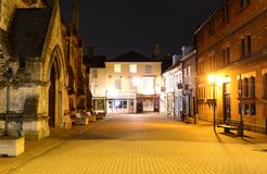 Street Scene at Night. St Thomas Square at night in Newport on the Isle of Wight Stock Images