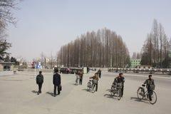 Commuters in DPRK. Street scene in North Korea DPRK Stock Image