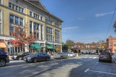 Street scene in Northampton, Massachusetts. The area is tourist draw with boutique stores stock image