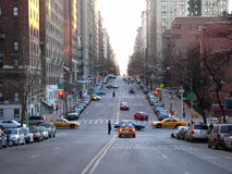 A street scene in NYC. A view down West End Avenue in New York City royalty free stock photography