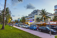 Street scene at the Ocean Drive in Miami. MIAMI, USA - AUG 23, 2014: Street scene at the Ocean Drive in Miami's Art Deco district Royalty Free Stock Photography