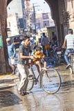 Street scene at the old city gate in Bikaner Royalty Free Stock Photo