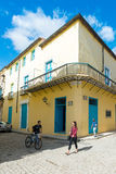 Street scene with old colorful house in Old Havana Royalty Free Stock Photo