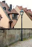 Street scene with old houses in background Royalty Free Stock Images