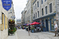 Street scene on Old Quebec city stock image