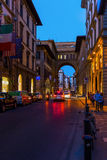 Street scene in the old town of Florence. Florence, Italy - July 04, 2016: street scene in the old town of Florence at night,with unidentified people. In royalty free stock image