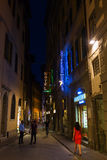 Street scene in the old town of Florence at night. Florence, Italy - July 03, 2016: street scene in Florence at night with unidentified people. Florence is a stock photography