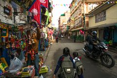 Street scene in the old town. Largest city of Nepal, its historic center. Royalty Free Stock Photos