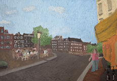 Street scene painting. Artistic painting of a street scene at the corner of Singel and Torensteeg, Amsterdam, Netherlands Royalty Free Stock Image
