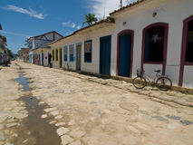Street Scene, Paraty, Brazil. Street scene with bicycle, Paraty, Brazil Royalty Free Stock Photo